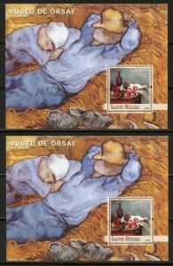 CLOSEOUT SPECIAL GUINEA BISSAU LOT OF 2 ORSAY MUSEUM PAINTING  SOUVENIR SHEETS