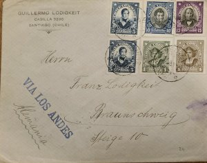 J) 1903 CHILE, COLUMBUS, MULTIPLE STAMPS, CIRCULATED COVER, FROM SANTIAGO TO GER