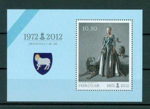 Faroe Islands. 1 Souv. Sheet. 2012 Mnh. Queen Margrethe II - 40 years On Throne.