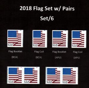 # 5260 - 5263  2018 Flag w/pairs  set/7 - MNH