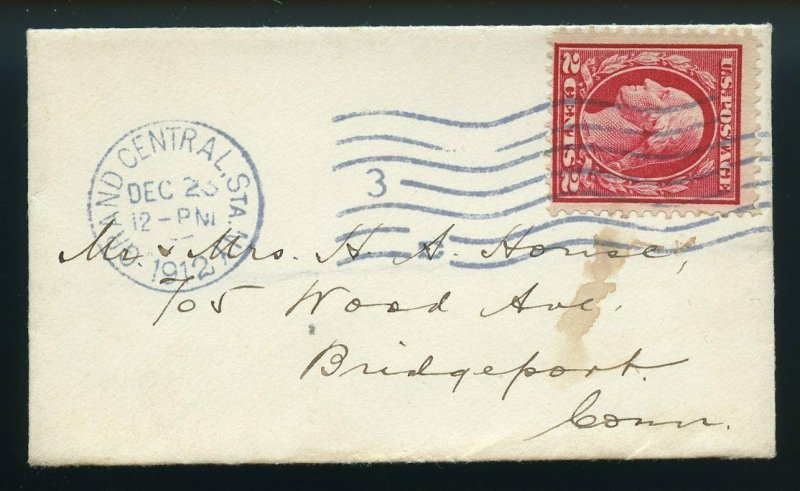 U.S. Scott 406 2 Cent Washington-Franklin on Very Small 1912 New York Cover