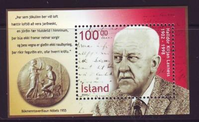 Iceland Sc 960a 2002 Laxness Nobel Prize stamp sheet mint NH