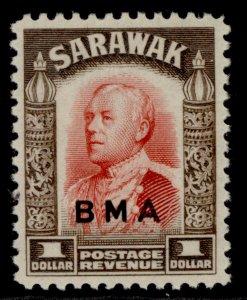 SARAWAK GVI SG140, $1 scarlet & sepia, LH MINT.