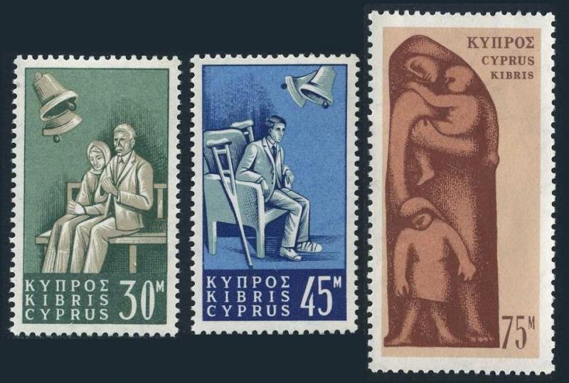 Cyprus 254-256, Mnh.michel 250-252. Social Assurance Law, 1965