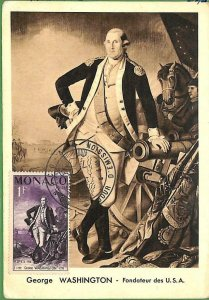 90255 - MONACO - Postal History - MAXIMUM CARD -  George WASHINGTON 1956