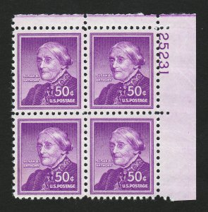 SCOTT #1051 SUSAN B ANTHONY PLATE BLOCK LIBERTY SERIES MNH-OG 1955