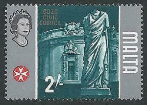 1965 2/- Gozo Civic Council MISSING GOLD from frame. SG 343b.