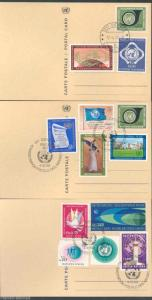 UNITED NATIONS SET OF 3 POST CARDS  FD CANCELLED WITH GENEVA 1//14 INCOMPLETE