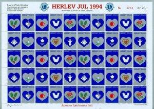 Denmark. Christmas Sheet Mnh 1994. Lions Club. Local Herlev. Bird,Heart,Apple.