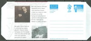 Great Britain-Scotland  Aerogramme - Robert Louis Stevenson (1) Mint