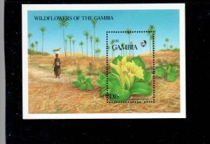 GAMBIA #691  1987   WILDFLOWERS  MINT VF NH  O.G  S/S