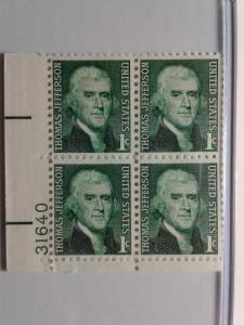 SCOTT # 1278 PLATE BLOCK MINT NEVER HINGED GEM QUALITY