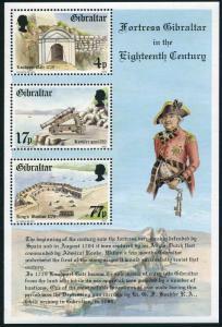 Gibraltar 455a sheet,MNH.Michel Bl.8. Fortress Gibraltar-18th cent.Admiral Rooke