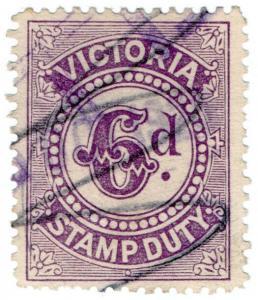 (I.B) Australia - Victoria Revenue : Stamp Duty 6d (inverted watermark)