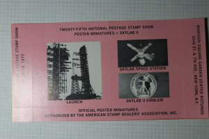 Natl Postage Stamp Show SkyLab 1973 Rocket Mail Philatelic Souvenir Ad Label