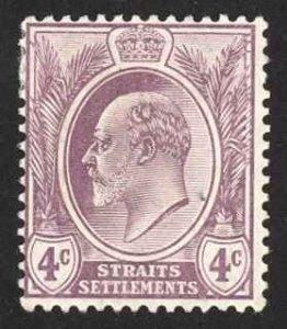 Straits Settlements Sc# 112 MH 1908 4c dull violet KEVII