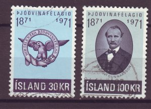 J25451 JLstamps 1971 iceland set used # 433-4 gunnarsson