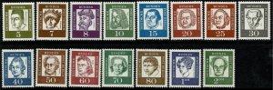 GERMANY BERLIN 1961-2 FAMOUS PORT. SET MINT (NH) SG B194-208 Wmk.294 P.14 SUPERB
