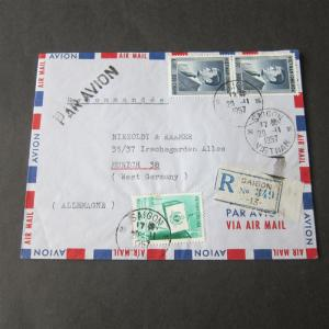 Vietnam1957 Registered cover to Germany #aaa44