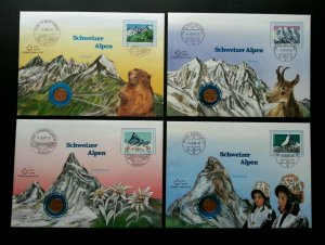 Switzerland Mountain 1991 Flower Deer Fauna FDC (coin cover 4's) *different PMK
