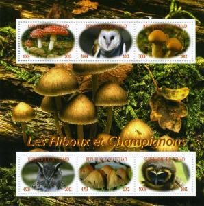 Chad 2012 Birds of Prey & Mushrooms Sheet (6) Perforated mnh.vf