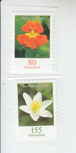 2019 Germany Nasturtium & Wood Anemone Flowers SA Coils (2) (Scott NA) MNH