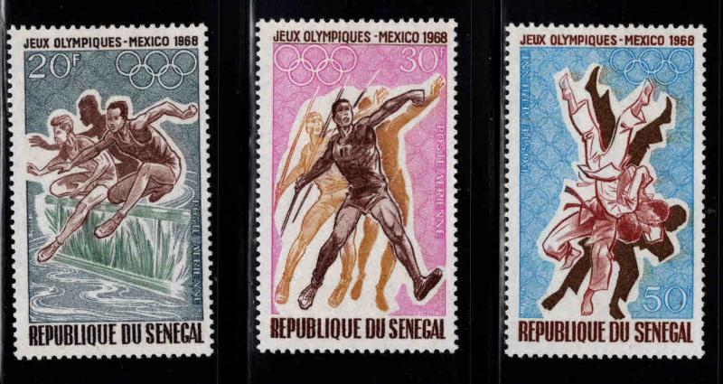 Senegal Scott C63-65 MH* Airmail 1968 Mexico Olympics stamps