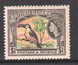 1954  BRITISH GUIANA - SG: 343 - CHANNEL BILLED TOUCAN $1 -  UNMOUNTED MINT