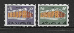 TURKEY - EUROPA 1969 - SCOTT 1799 TO 1800 - MNH