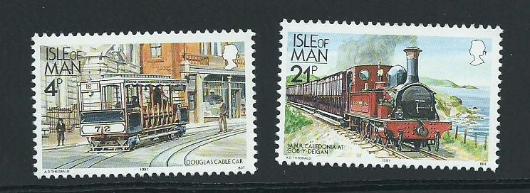 Isle of Man MUH SG 367, 377c  1988 Railways - 1991  ...