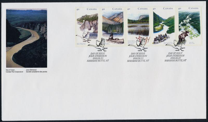 Canada 1325a on FDC - Heritage Rivers, Birds, Animals, Birds, Canoe