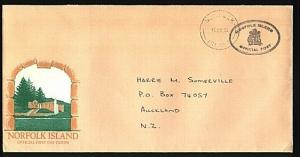NORFOLK IS 1994 Official cover to New Zealand - using an old FDC...........71954