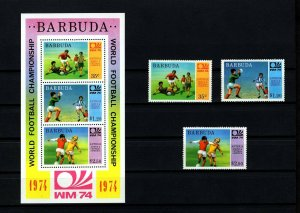 BARBUDA - 1974 - SOCCER - WORLD CUP - CHAMPIONSHIPS - MINT MNH SET + S/SHEET!