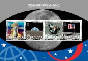 Gibraltar - NASA 50th Anniversary Apollo 11 - 4 Stamp Sheet Scott 1157