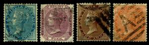 1865-67 India #20-23 QV Watermark 38 - Used - Fine+ - CV$17.85 (ESP#3825)
