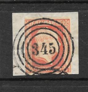 PRUSSIA  1859-61  1/2pf  ORANGE  IMPERF   FU  on PIECE   Mi 1   SG 23