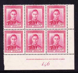 NEW ZEALAND  1938-52  6d CARMINE  KGVI   PLATE BLK 6   #146  MNH
