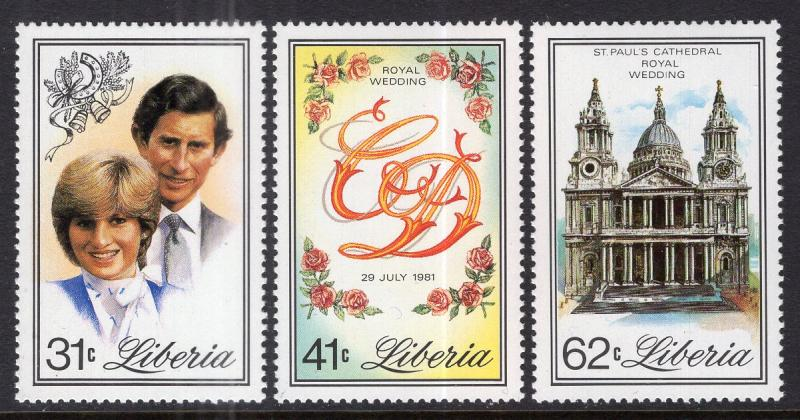 Liberia MNH 897-9 Royal Wedding Diana 1981 SCV 4.05