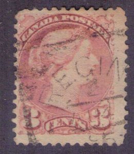 CANADA Rare Scott #37d F-VF- Used 3 Cents INDIAN RED Perf. 12.5 SCV $1,750.00