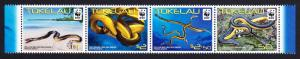 Tokelau WWF Yellow-bellied Sea Snake strip of 4v SG#420-423 MI#408-411