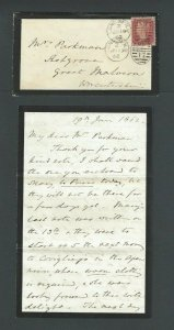 1862 June 19th Great Britain Mourning Cover W/Letter