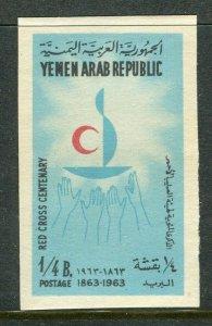 YEMEN;  1963 Red Cross Anniversary issue Mint MNH 1/4b. IMPERF VARIETY value