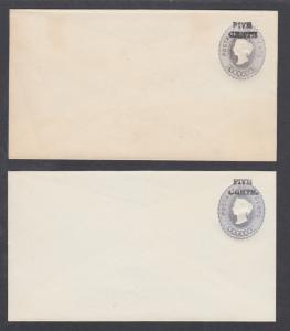 Ceylon H&G B16, B16a, mint. 1886 5c on 4c gray QV envelope, 2 different