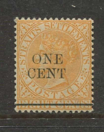 Straits Settlements-Scott 80- QV 0verpint Definitive-1899 -MNH -Single 1c Stamp