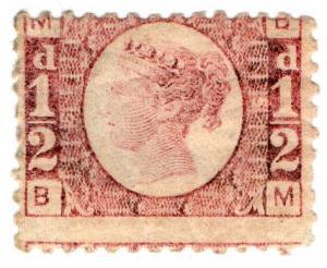 (I.B-CK) QV Postal : ½d Rose-Red (plate 5) SG 48
