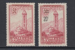 French Andorra Sc 37, 64, MLH. 1932 & 1935 50c lilac rose Monastery