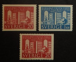 Sweden 600-02. 1961 Royal Library, NH
