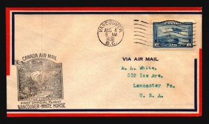 Canada 1938 FFC Vancouver to White Horse - L2994