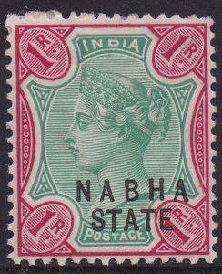 NABHA 1885 QV 1R ERROR OVERPRINT DOUBLE 1 ALBINO