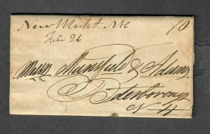1839 New Market NH Stampless Cover M/S Cancel+Letter
